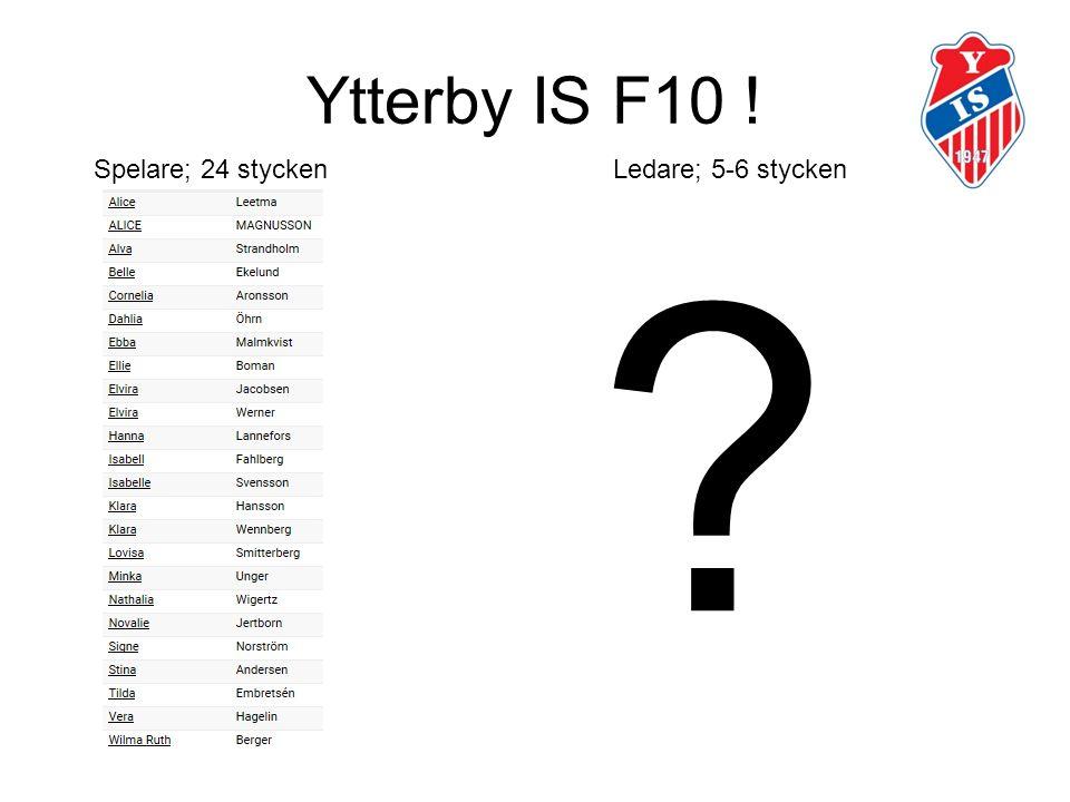 Ytterby IS F10 ! ? Spelare; 24 stycken Ledare; 5-6 stycken