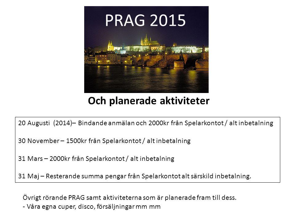 PRAG 2015 20 Augusti (2014)– Bindande anmälan och 2000kr från Spelarkontot / alt inbetalning 30 November – 1500kr från Spelarkontot / alt inbetalning