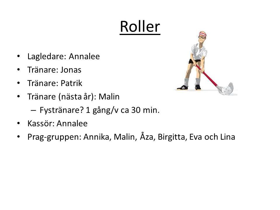 Roller Lagledare: Annalee Tränare: Jonas Tränare: Patrik Tränare (nästa år): Malin – Fystränare? 1 gång/v ca 30 min. Kassör: Annalee Prag-gruppen: Ann