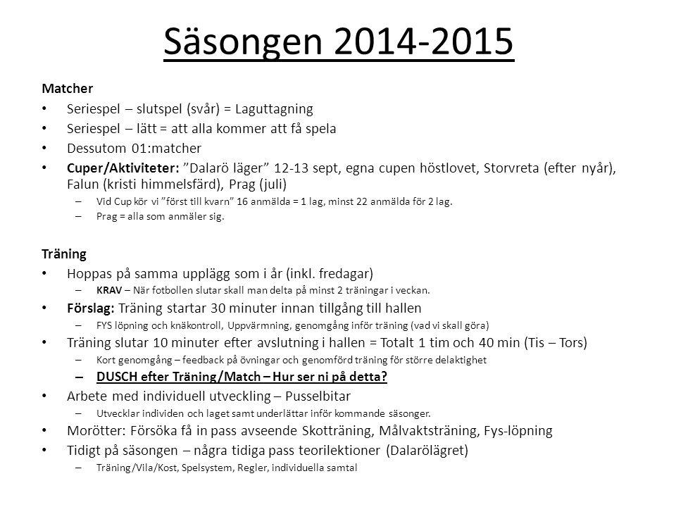 Säsongen 2014-2015 Matcher Seriespel – slutspel (svår) = Laguttagning Seriespel – lätt = att alla kommer att få spela Dessutom 01:matcher Cuper/Aktiviteter: Dalarö läger 12-13 sept, egna cupen höstlovet, Storvreta (efter nyår), Falun (kristi himmelsfärd), Prag (juli) – Vid Cup kör vi först till kvarn 16 anmälda = 1 lag, minst 22 anmälda för 2 lag.
