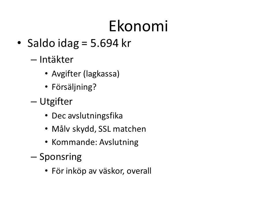 Ekonomi Saldo idag = 5.694 kr – Intäkter Avgifter (lagkassa) Försäljning.
