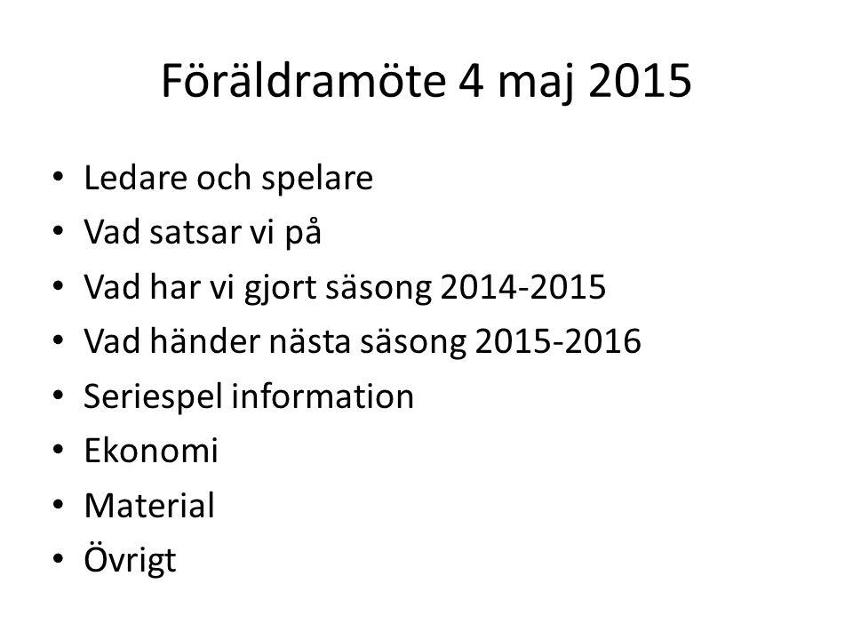 Föräldramöte 4 maj 2015 Ledare och spelare Vad satsar vi på Vad har vi gjort säsong 2014-2015 Vad händer nästa säsong 2015-2016 Seriespel information Ekonomi Material Övrigt