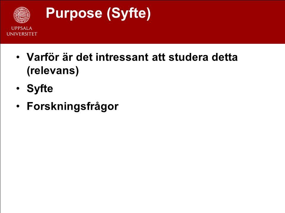 Purpose (Syfte) Varför är det intressant att studera detta (relevans) Syfte Forskningsfrågor