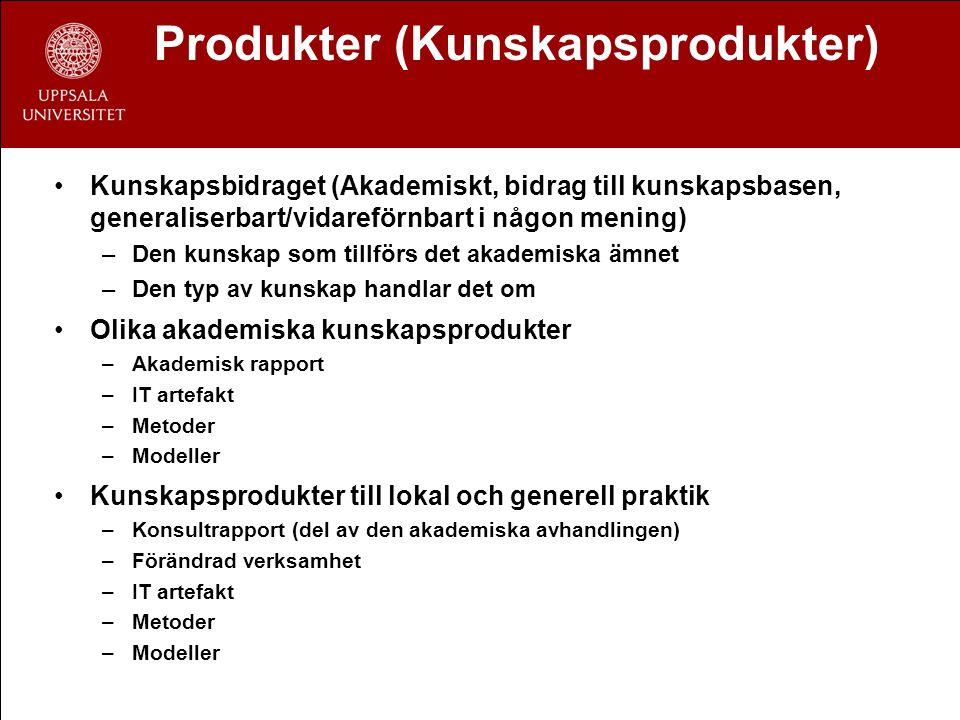 Produkter (Kunskapsprodukter) Kunskapsbidraget (Akademiskt, bidrag till kunskapsbasen, generaliserbart/vidareförnbart i någon mening) –Den kunskap som tillförs det akademiska ämnet –Den typ av kunskap handlar det om Olika akademiska kunskapsprodukter –Akademisk rapport –IT artefakt –Metoder –Modeller Kunskapsprodukter till lokal och generell praktik –Konsultrapport (del av den akademiska avhandlingen) –Förändrad verksamhet –IT artefakt –Metoder –Modeller