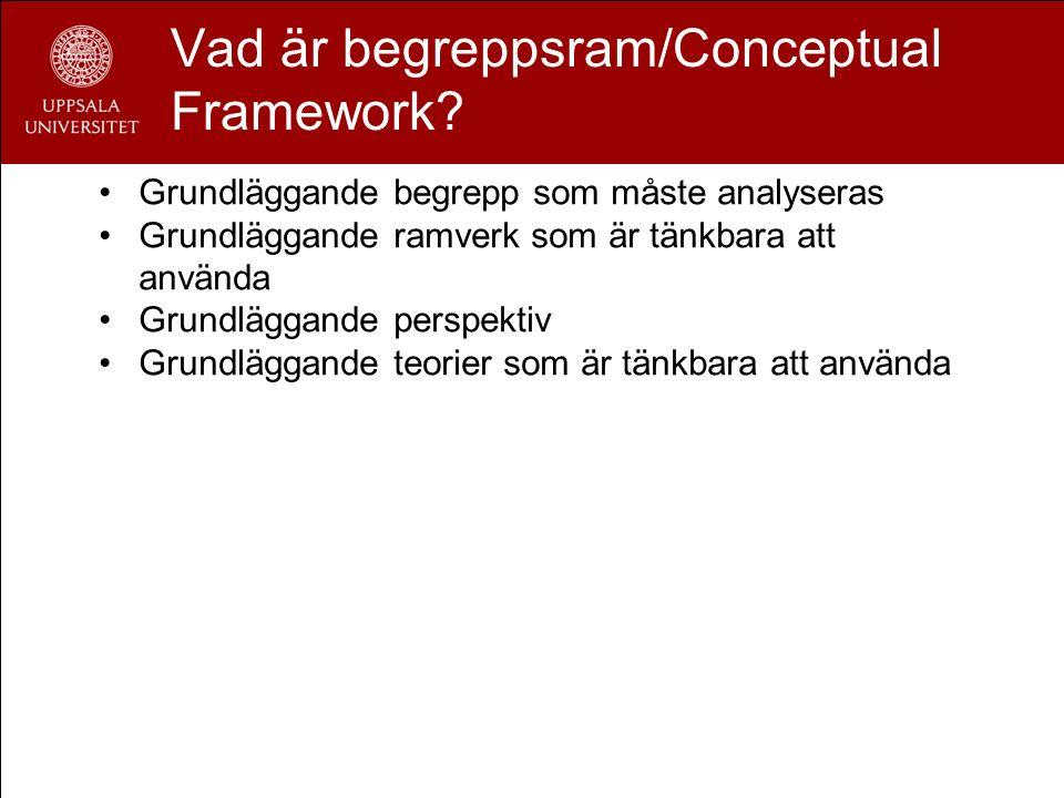 Vad är begreppsram/Conceptual Framework? Grundläggande begrepp som måste analyseras Grundläggande ramverk som är tänkbara att använda Grundläggande pe