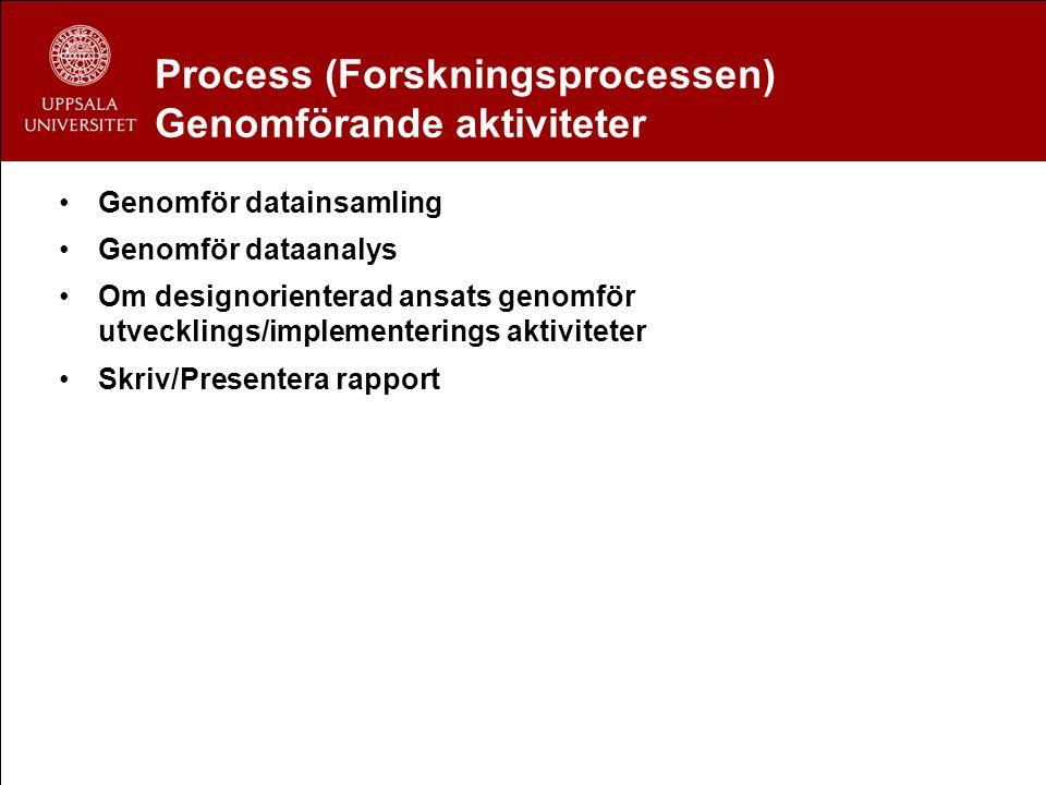 Process (Forskningsprocessen) Genomförande aktiviteter Genomför datainsamling Genomför dataanalys Om designorienterad ansats genomför utvecklings/impl