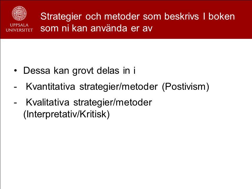 Strategier och metoder som beskrivs I boken som ni kan använda er av Dessa kan grovt delas in i - Kvantitativa strategier/metoder (Postivism) - Kvalit