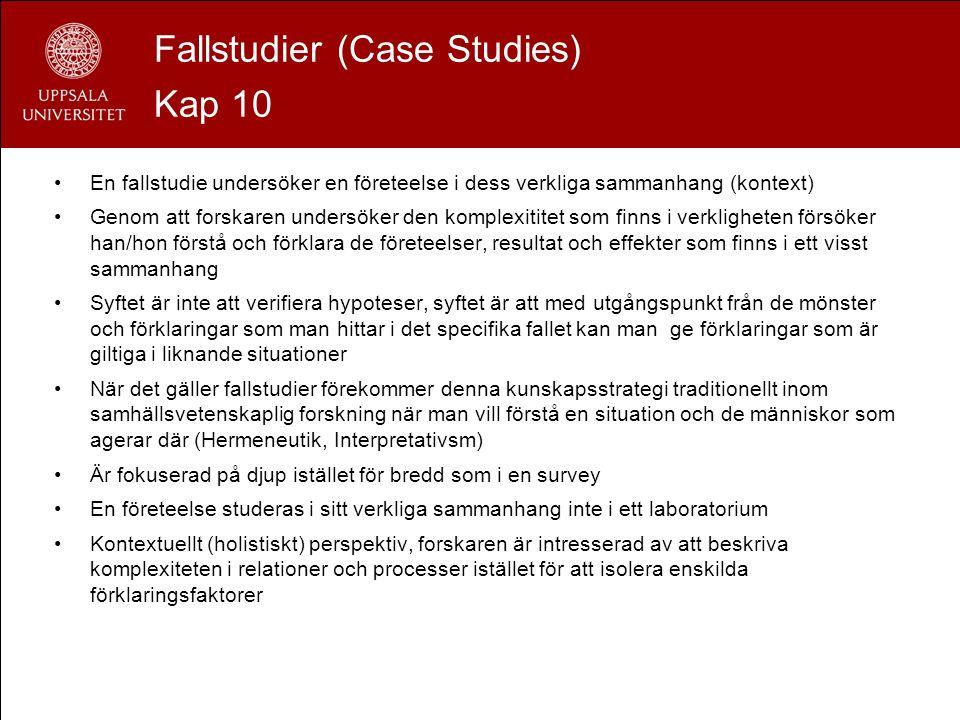 Fallstudier (Case Studies) Kap 10 En fallstudie undersöker en företeelse i dess verkliga sammanhang (kontext) Genom att forskaren undersöker den kompl