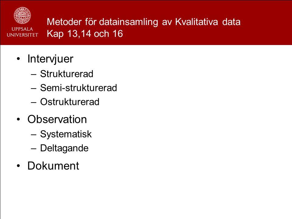 Metoder för datainsamling av Kvalitativa data Kap 13,14 och 16 Intervjuer –Strukturerad –Semi-strukturerad –Ostrukturerad Observation –Systematisk –De