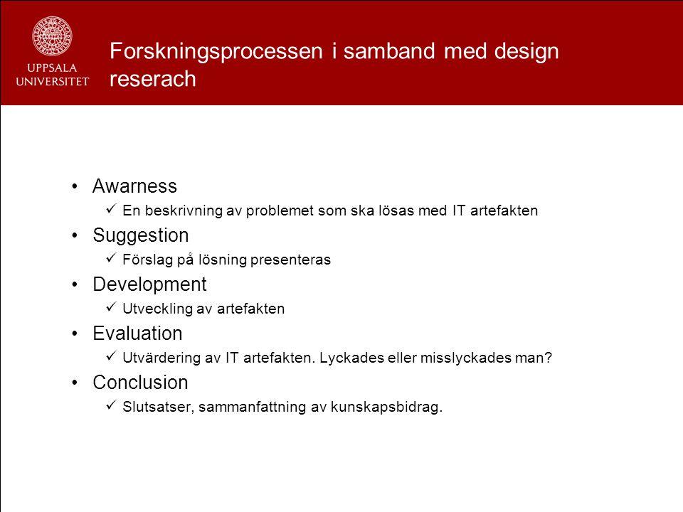 Forskningsprocessen i samband med design reserach Awarness En beskrivning av problemet som ska lösas med IT artefakten Suggestion Förslag på lösning p