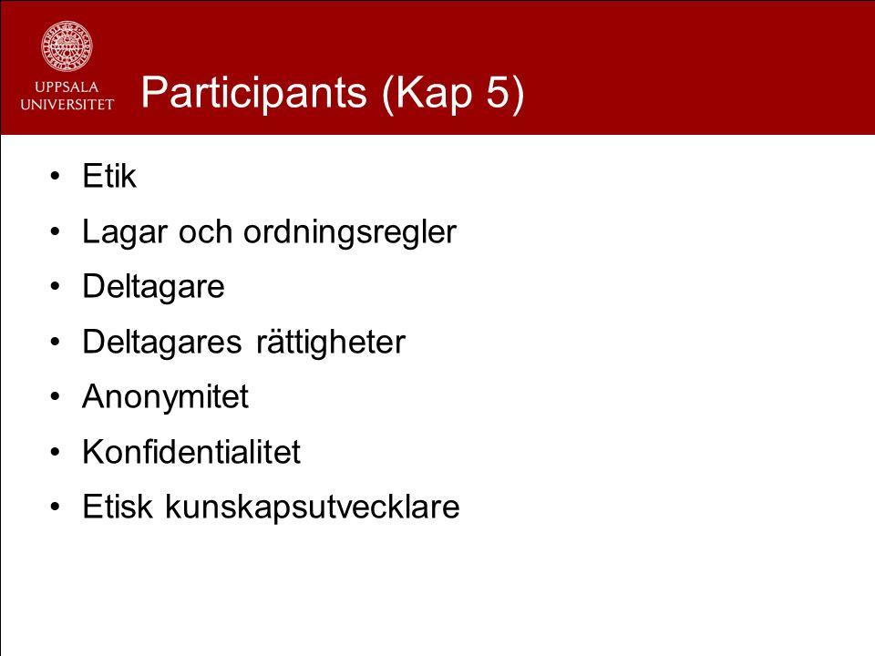 Participants (Kap 5) Etik Lagar och ordningsregler Deltagare Deltagares rättigheter Anonymitet Konfidentialitet Etisk kunskapsutvecklare