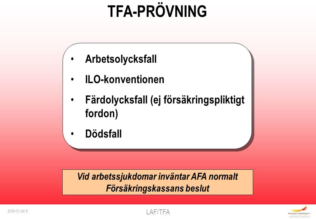 LAF/TFA 2006-01 sid 8 TFA-PRÖVNING Arbetsolycksfall ILO-konventionen Färdolycksfall (ej försäkringspliktigt fordon) Dödsfall Arbetsolycksfall ILO-konventionen Färdolycksfall (ej försäkringspliktigt fordon) Dödsfall Vid arbetssjukdomar inväntar AFA normalt Försäkringskassans beslut