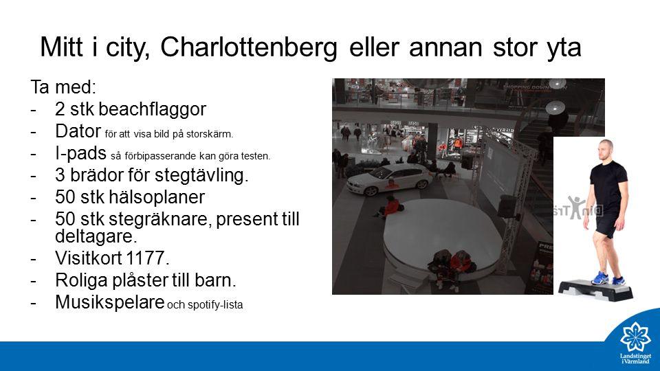 Mitt i city, Charlottenberg eller annan stor yta Ta med: -2 stk beachflaggor -Dator för att visa bild på storskärm.
