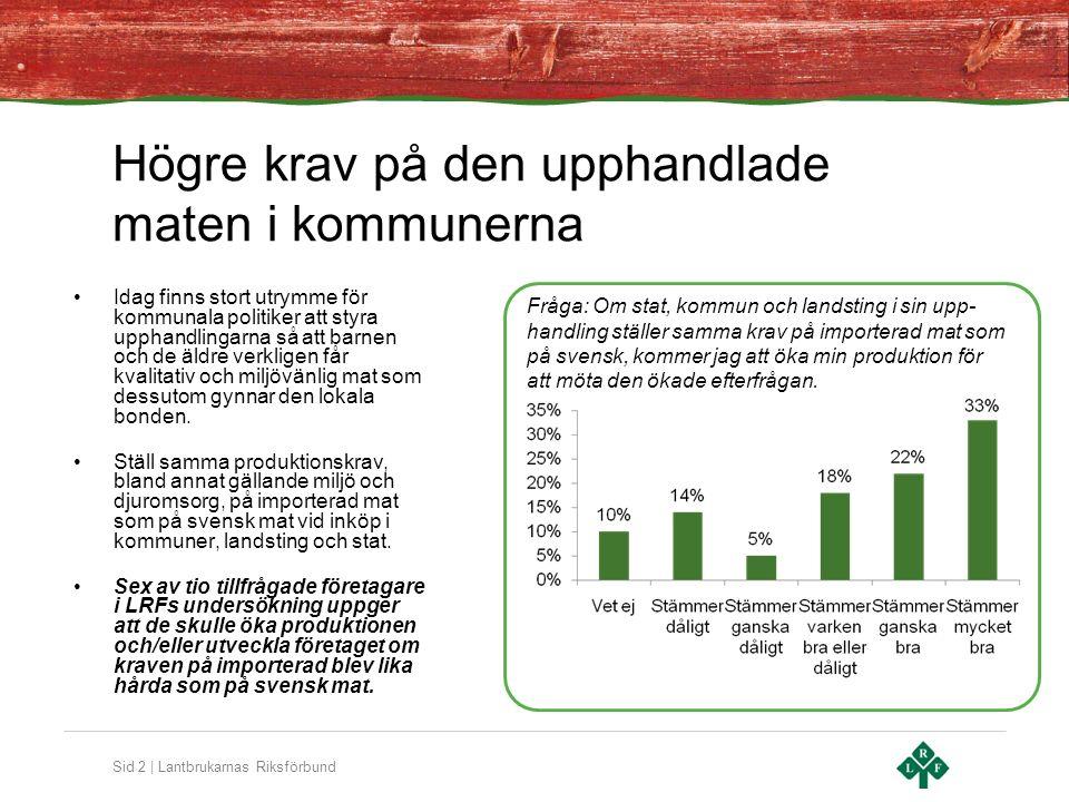 Sid 3 | Lantbrukarnas Riksförbund Upphandling av livsmedel Varor och tjänster som den offentliga sektorn köper ska ha en sådan kvalitet att de ligger i nivå med kraven i svensk lagstiftning, till exempel svenska miljö- och djuromsorgsregler.