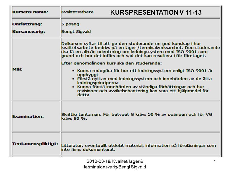 12010-03-18/ Kvalitet/ lager & terminalansvarig/Bengt Sigvald KURSPRESENTATION V 11-13