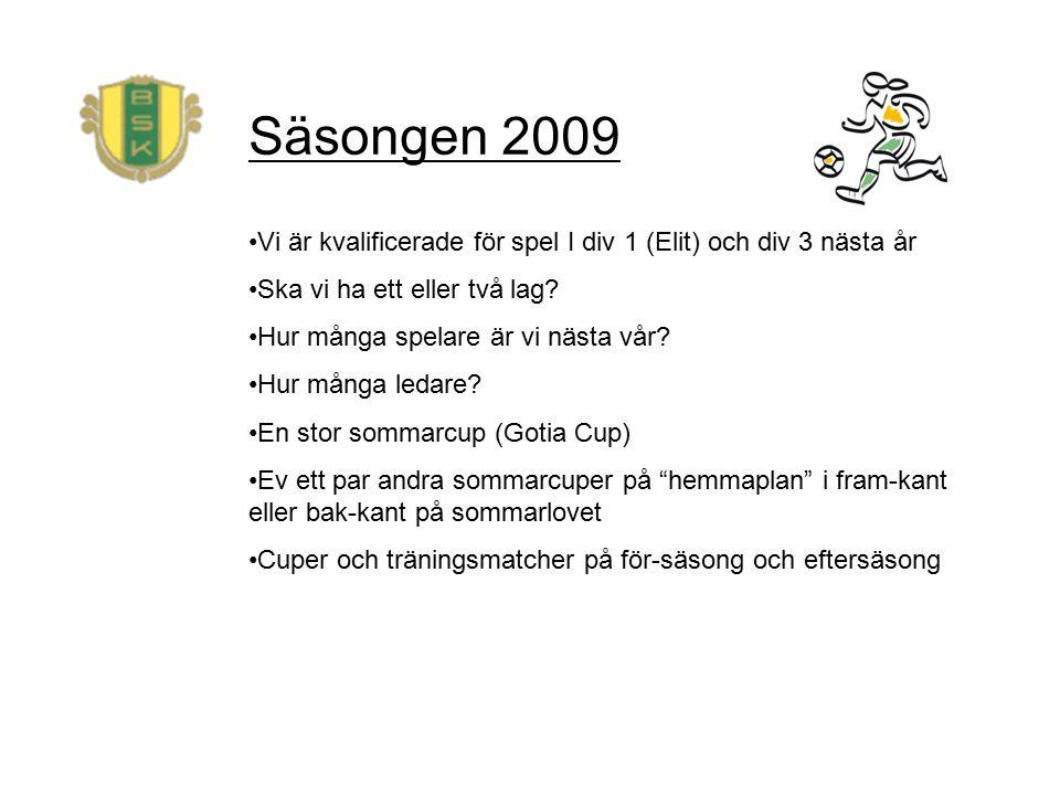 Säsongen 2009 Vi är kvalificerade för spel I div 1 (Elit) och div 3 nästa år Ska vi ha ett eller två lag.