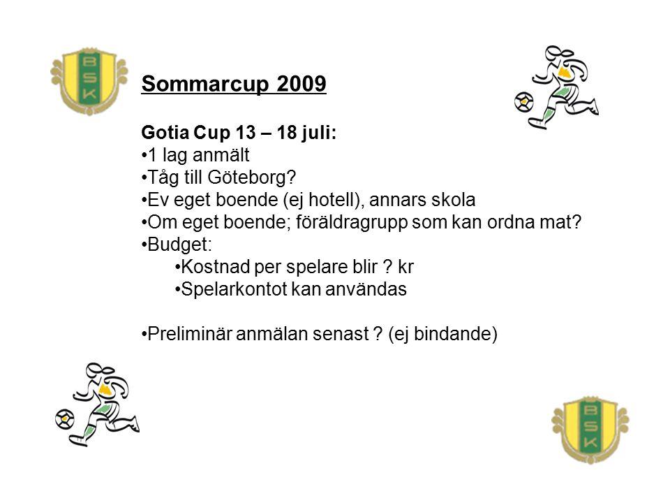 Sommarcup 2009 Gotia Cup 13 – 18 juli: 1 lag anmält Tåg till Göteborg? Ev eget boende (ej hotell), annars skola Om eget boende; föräldragrupp som kan
