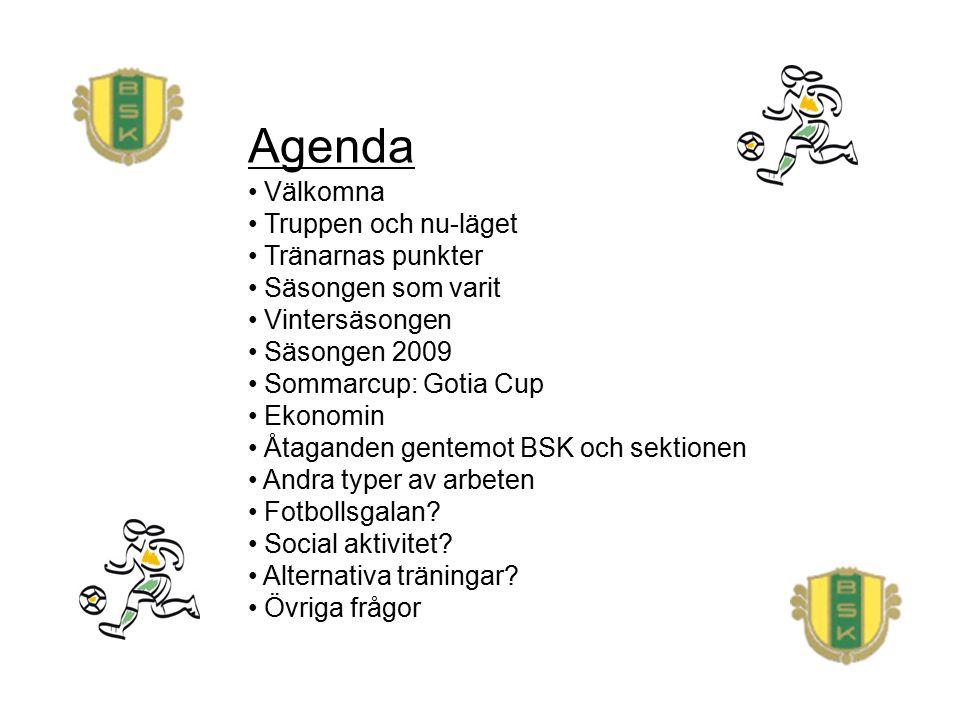Agenda Välkomna Truppen och nu-läget Tränarnas punkter Säsongen som varit Vintersäsongen Säsongen 2009 Sommarcup: Gotia Cup Ekonomin Åtaganden gentemo