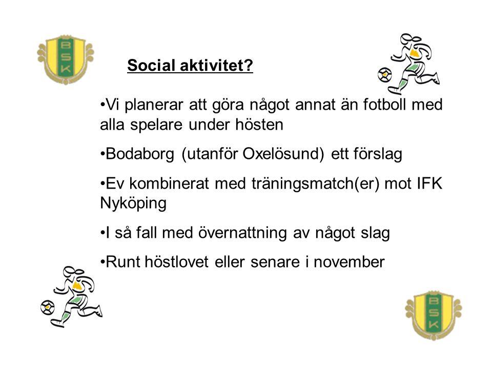 Social aktivitet? Vi planerar att göra något annat än fotboll med alla spelare under hösten Bodaborg (utanför Oxelösund) ett förslag Ev kombinerat med