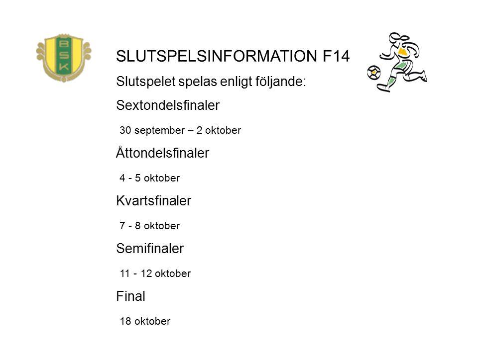 SLUTSPELSINFORMATION F14 Slutspelet spelas enligt följande: Sextondelsfinaler 30 september – 2 oktober Åttondelsfinaler 4 - 5 oktober Kvartsfinaler 7 - 8 oktober Semifinaler 11 - 12 oktober Final 18 oktober