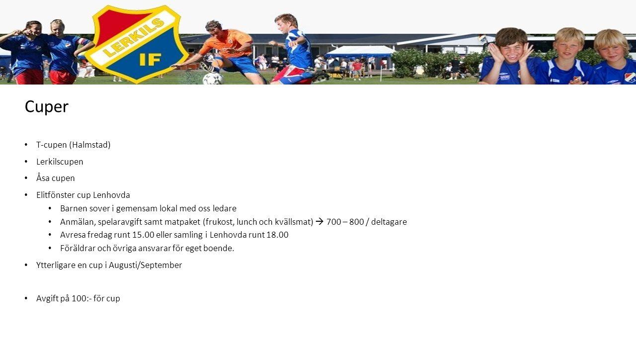Kalender – Viktiga datum Följ kalendern på laget.se (denna kommer vi hålla uppdaterad) (Visa) Börja använda appen Fotbollens dag, 11 april (Lerkil 75 år samt invigning av klubbhus) T-cupen (Halmstad), 26 April Maskot till IFK Göteborg Lerkilscupen, 14 juni Sommarfotbollsskola, 15-18 juni Åsa cupen, 26-27 juni Elitfönster cup Lenhovda, 1-2 augusti Ytterligare en cup i Augusti/September