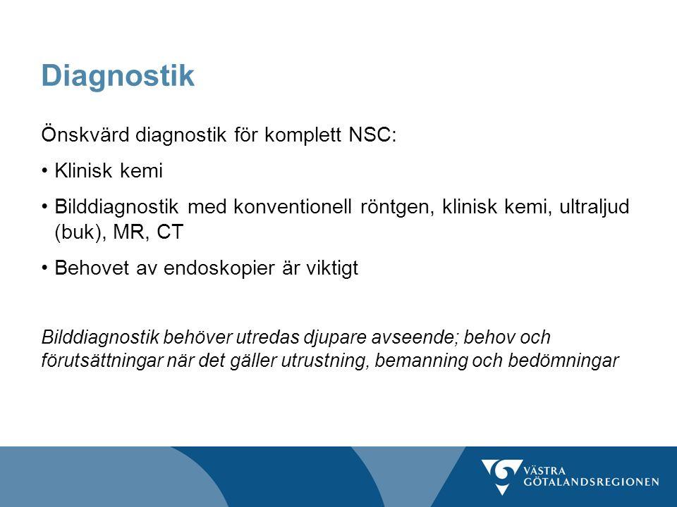 Diagnostik Önskvärd diagnostik för komplett NSC: Klinisk kemi Bilddiagnostik med konventionell röntgen, klinisk kemi, ultraljud (buk), MR, CT Behovet av endoskopier är viktigt Bilddiagnostik behöver utredas djupare avseende; behov och förutsättningar när det gäller utrustning, bemanning och bedömningar