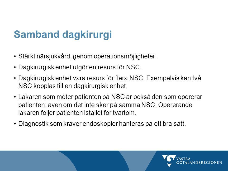 Samband dagkirurgi Stärkt närsjukvård, genom operationsmöjligheter. Dagkirurgisk enhet utgör en resurs för NSC. Dagkirurgisk enhet vara resurs för fle