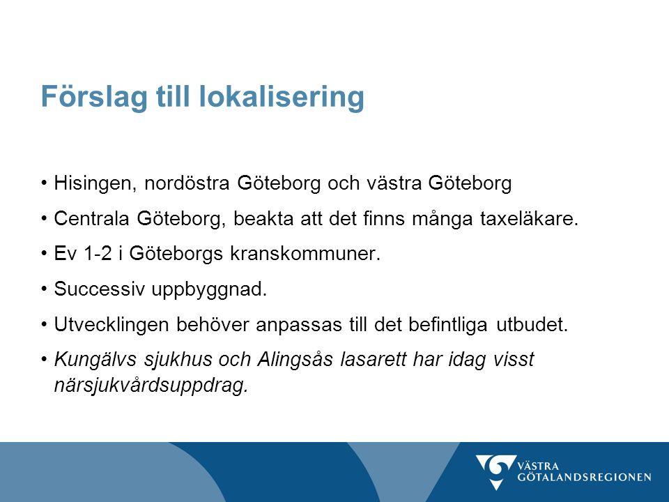 Förslag till lokalisering Hisingen, nordöstra Göteborg och västra Göteborg Centrala Göteborg, beakta att det finns många taxeläkare. Ev 1-2 i Göteborg