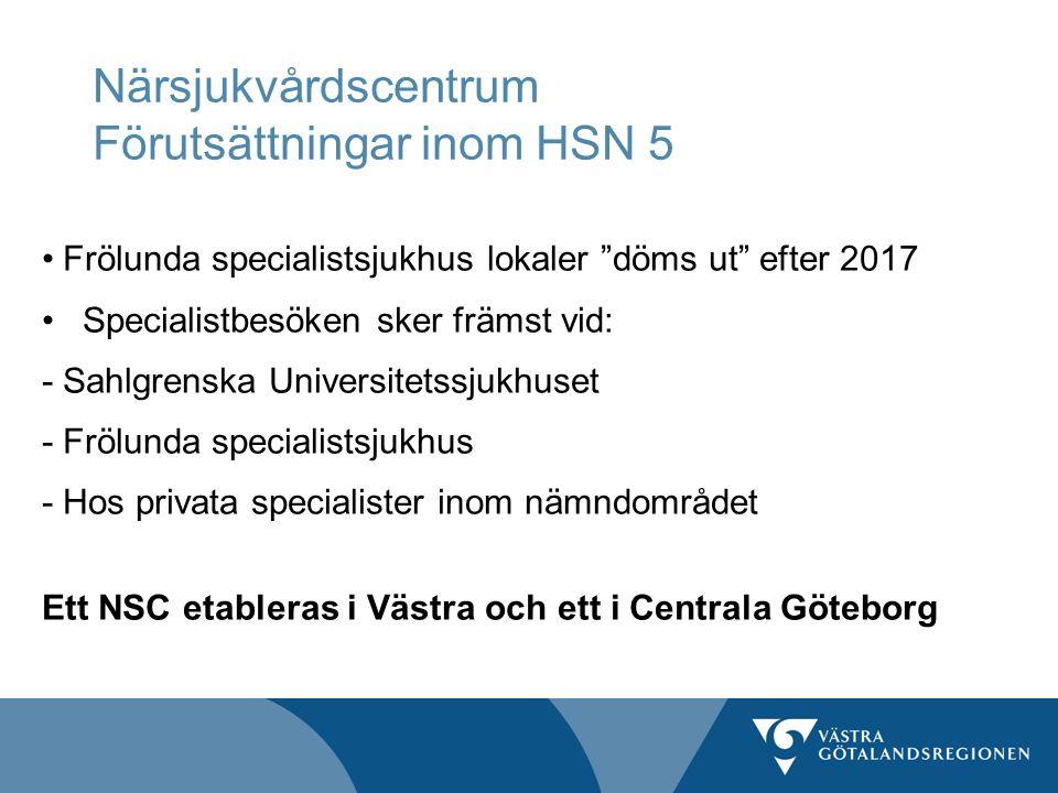 Närsjukvårdscentrum Förutsättningar inom HSN 5 Frölunda specialistsjukhus lokaler döms ut efter 2017 Specialistbesöken sker främst vid: -Sahlgrenska Universitetssjukhuset -Frölunda specialistsjukhus - Hos privata specialister inom nämndområdet Ett NSC etableras i Västra och ett i Centrala Göteborg