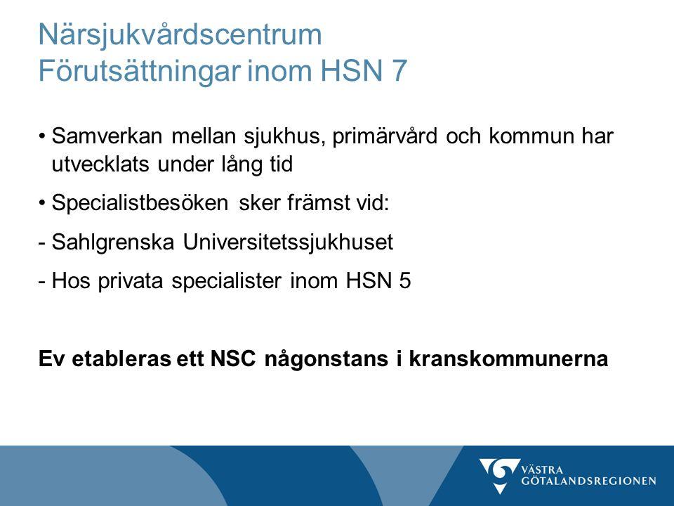 Närsjukvårdscentrum Förutsättningar inom HSN 7 Samverkan mellan sjukhus, primärvård och kommun har utvecklats under lång tid Specialistbesöken sker fr