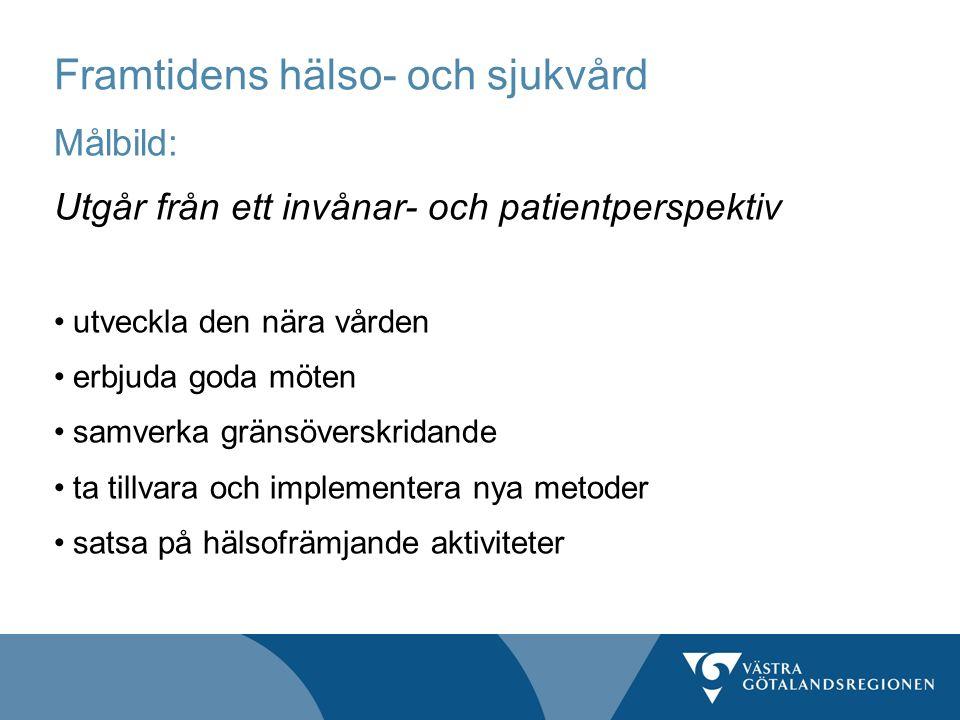 Framtidens hälso- och sjukvård Målbild: Utgår från ett invånar- och patientperspektiv utveckla den nära vården erbjuda goda möten samverka gränsöversk