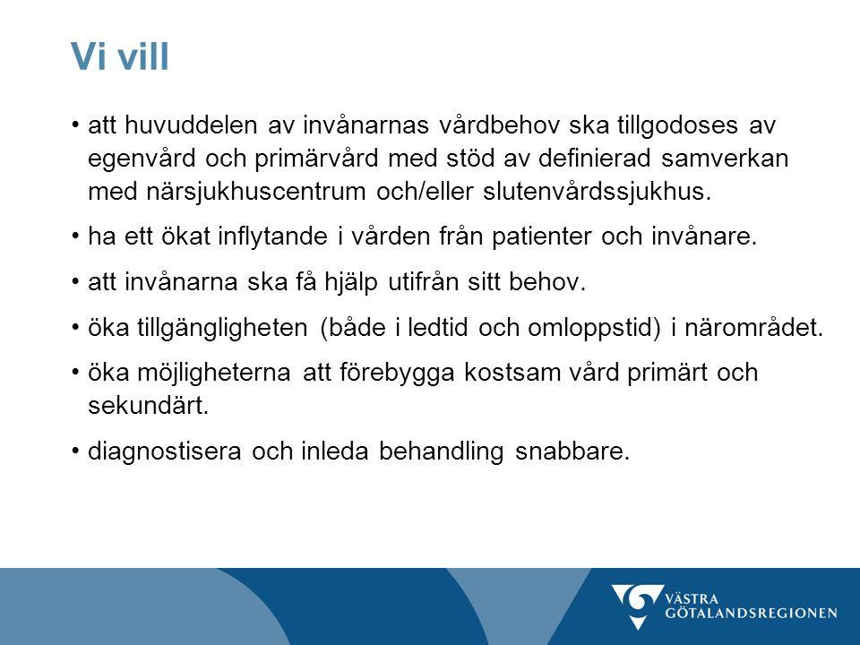 Vi vill att huvuddelen av invånarnas vårdbehov ska tillgodoses av egenvård och primärvård med stöd av definierad samverkan med närsjukhuscentrum och/e