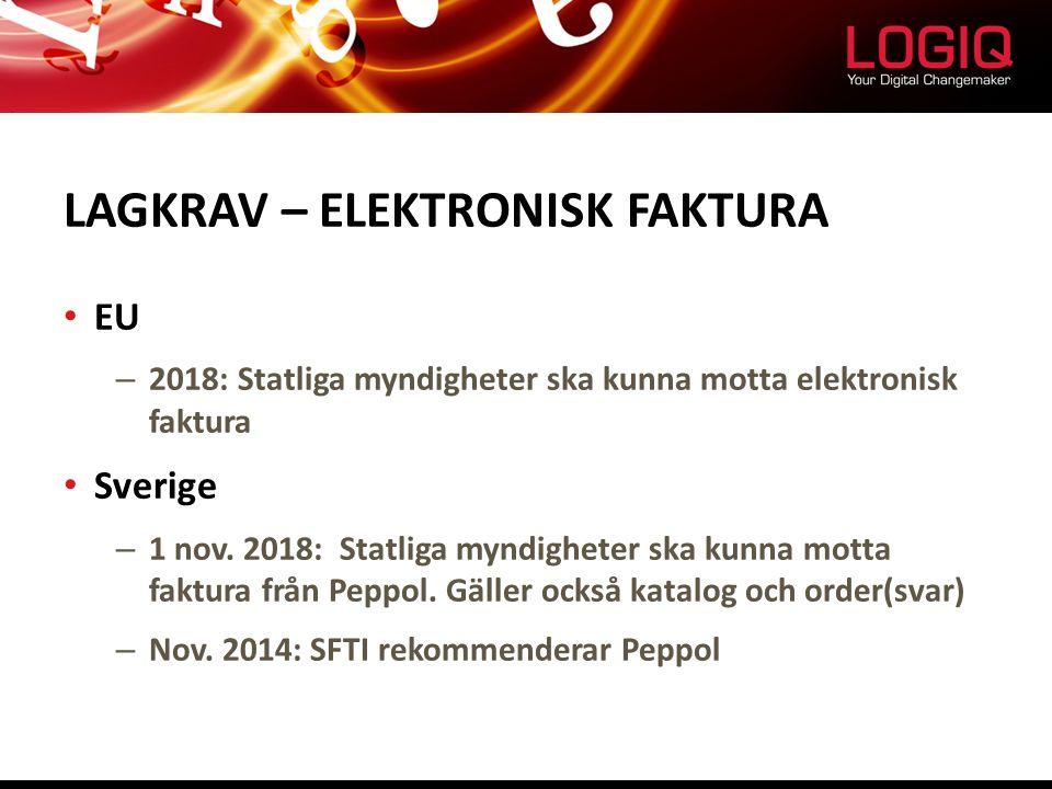 LAGKRAV – ELEKTRONISK FAKTURA EU – 2018: Statliga myndigheter ska kunna motta elektronisk faktura Sverige – 1 nov. 2018: Statliga myndigheter ska kunn