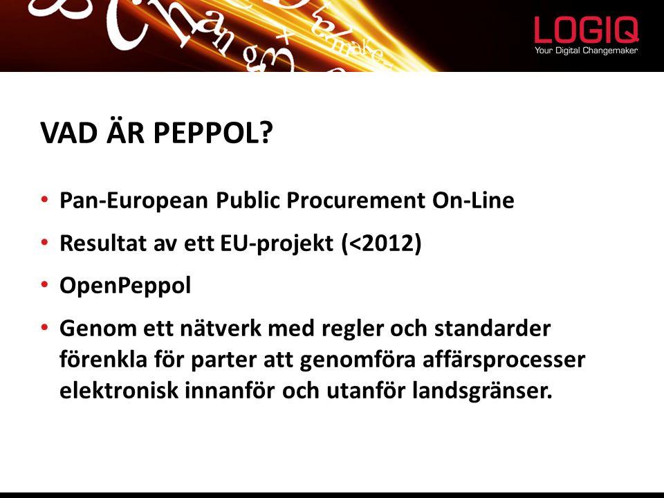 VAD ÄR PEPPOL? Pan-European Public Procurement On-Line Resultat av ett EU-projekt (<2012) OpenPeppol Genom ett nätverk med regler och standarder fören