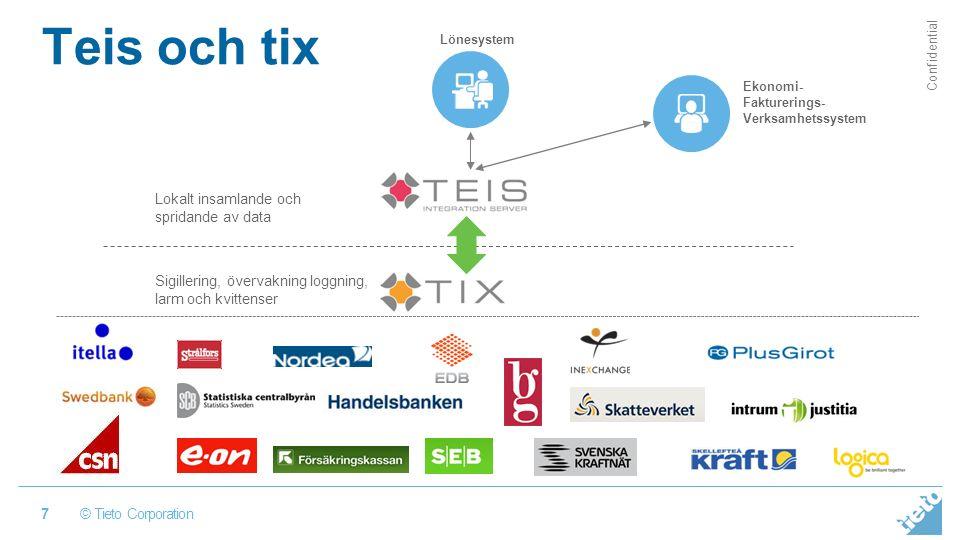 © Tieto Corporation Confidential Teis och tix 7 Lokalt insamlande och spridande av data Sigillering, övervakning loggning, larm och kvittenser Lönesystem Ekonomi- Fakturerings- Verksamhetssystem