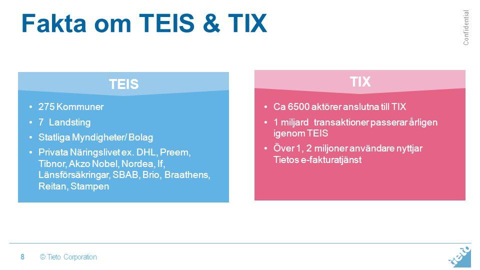 © Tieto Corporation Confidential Fakta om TEIS & TIX 8 Ca 6500 aktörer anslutna till TIX 1 miljard transaktioner passerar årligen igenom TEIS Över 1, 2 miljoner användare nyttjar Tietos e-fakturatjänst 275 Kommuner 7 Landsting Statliga Myndigheter/ Bolag Privata Näringslivet ex.