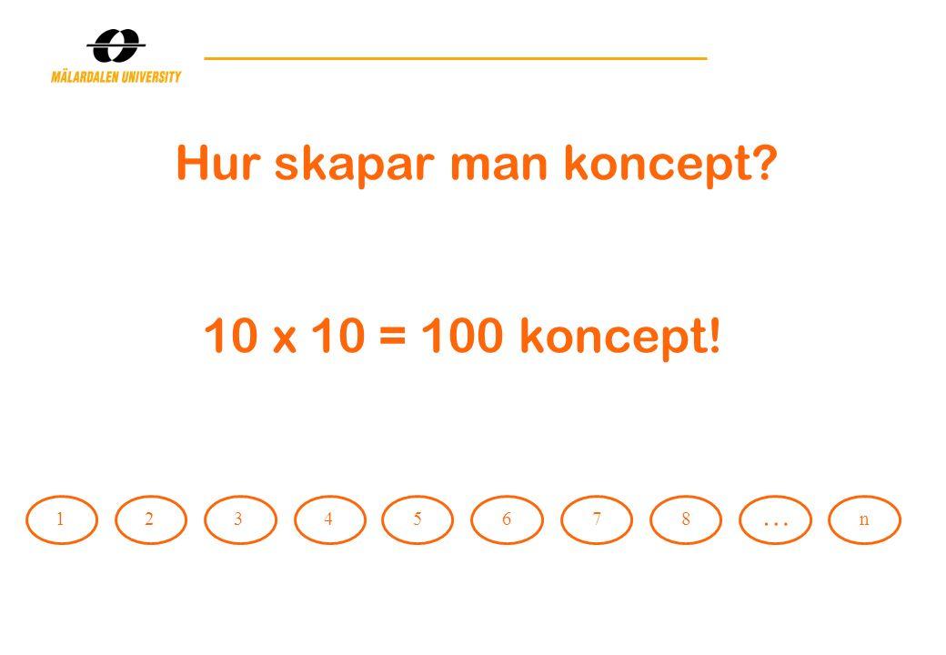 12345678 … n 10 x 10 = 100 koncept!