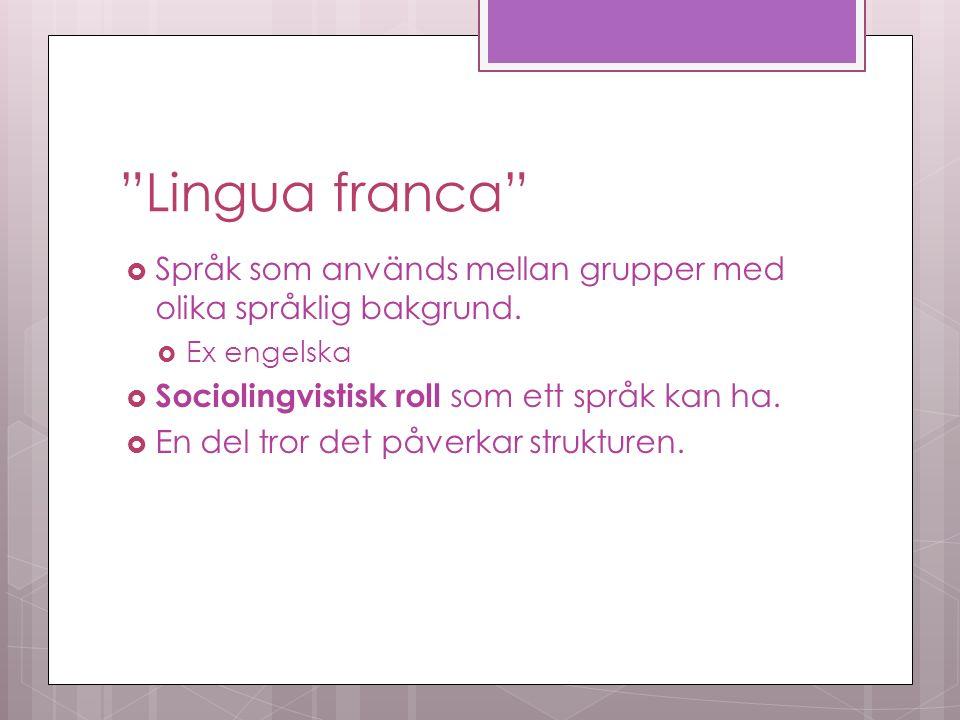 Lingua franca  Språk som används mellan grupper med olika språklig bakgrund.
