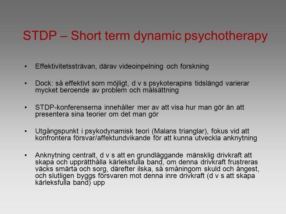 STDP – Short term dynamic psychotherapy Effektivitetssträvan, därav videoinpelning och forskning Dock: så effektivt som möjligt, d v s psykoterapins t