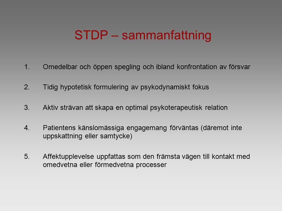 STDP – sammanfattning 1.Omedelbar och öppen spegling och ibland konfrontation av försvar 2.Tidig hypotetisk formulering av psykodynamiskt fokus 3.Aktiv strävan att skapa en optimal psykoterapeutisk relation 4.Patientens känslomässiga engagemang förväntas (däremot inte uppskattning eller samtycke) 5.Affektupplevelse uppfattas som den främsta vägen till kontakt med omedvetna eller förmedvetna processer