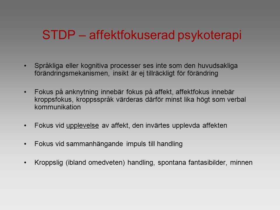 STDP – affektfokuserad psykoterapi Språkliga eller kognitiva processer ses inte som den huvudsakliga förändringsmekanismen, insikt är ej tillräckligt för förändring Fokus på anknytning innebär fokus på affekt, affektfokus innebär kroppsfokus, kroppsspråk värderas därför minst lika högt som verbal kommunikation Fokus vid upplevelse av affekt, den invärtes upplevda affekten Fokus vid sammanhängande impuls till handling Kroppslig (ibland omedveten) handling, spontana fantasibilder, minnen