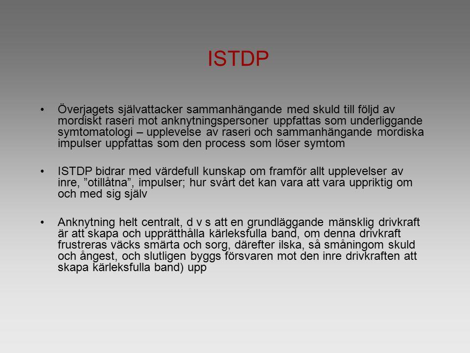 ISTDP Överjagets självattacker sammanhängande med skuld till följd av mordiskt raseri mot anknytningspersoner uppfattas som underliggande symtomatolog