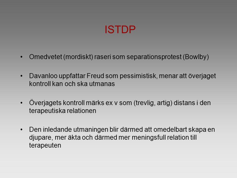 ISTDP Omedvetet (mordiskt) raseri som separationsprotest (Bowlby) Davanloo uppfattar Freud som pessimistisk, menar att överjaget kontroll kan och ska utmanas Överjagets kontroll märks ex v som (trevlig, artig) distans i den terapeutiska relationen Den inledande utmaningen blir därmed att omedelbart skapa en djupare, mer äkta och därmed mer meningsfull relation till terapeuten
