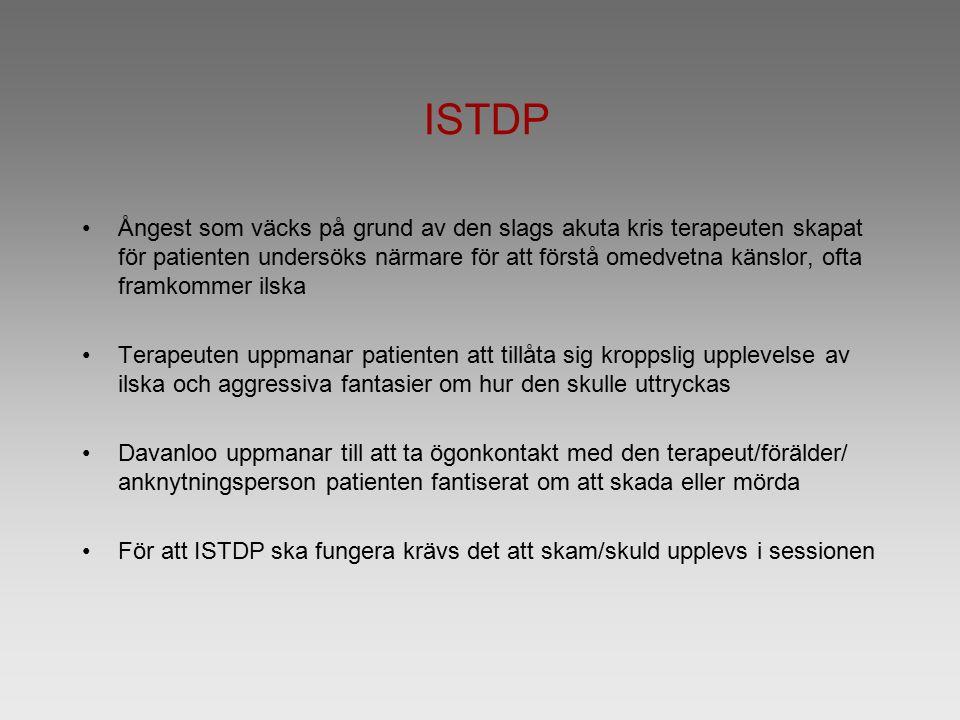 ISTDP Ångest som väcks på grund av den slags akuta kris terapeuten skapat för patienten undersöks närmare för att förstå omedvetna känslor, ofta framk