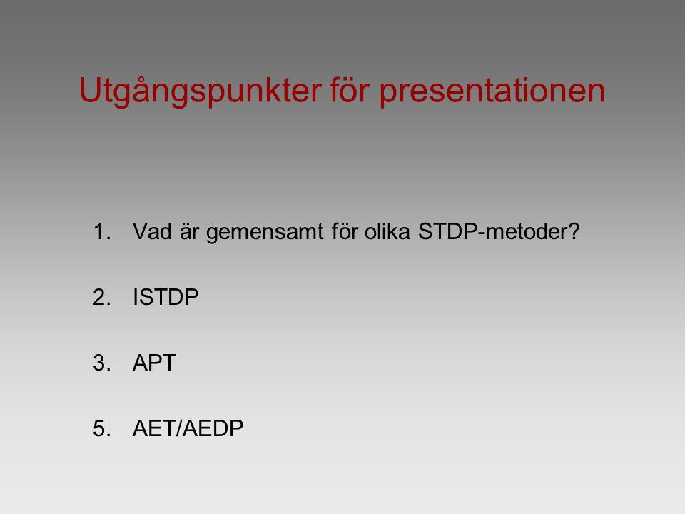 Utgångspunkter för presentationen 1.Vad är gemensamt för olika STDP-metoder? 2.ISTDP 3.APT 5.AET/AEDP