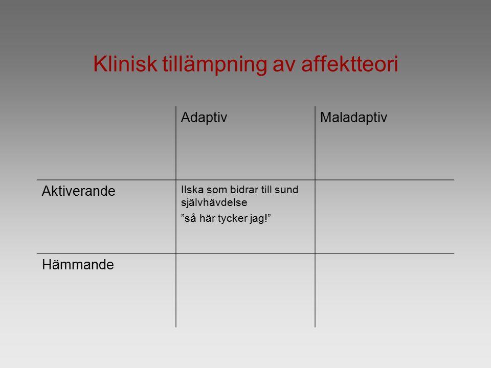 Klinisk tillämpning av affektteori AdaptivMaladaptiv Aktiverande Ilska som bidrar till sund självhävdelse så här tycker jag! Hämmande