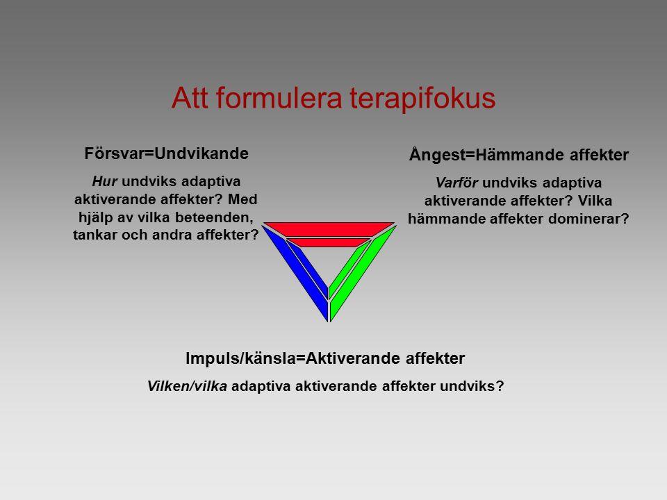 Att formulera terapifokus Försvar=Undvikande Hur undviks adaptiva aktiverande affekter.