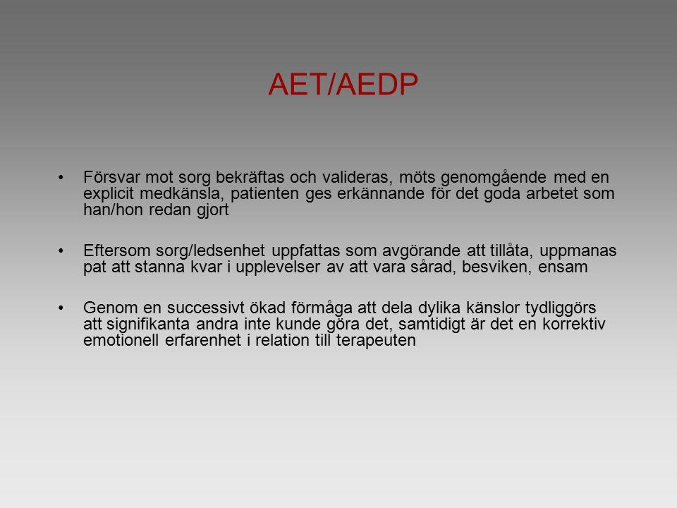 AET/AEDP Försvar mot sorg bekräftas och valideras, möts genomgående med en explicit medkänsla, patienten ges erkännande för det goda arbetet som han/hon redan gjort Eftersom sorg/ledsenhet uppfattas som avgörande att tillåta, uppmanas pat att stanna kvar i upplevelser av att vara sårad, besviken, ensam Genom en successivt ökad förmåga att dela dylika känslor tydliggörs att signifikanta andra inte kunde göra det, samtidigt är det en korrektiv emotionell erfarenhet i relation till terapeuten