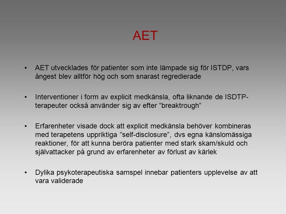 AET AET utvecklades för patienter som inte lämpade sig för ISTDP, vars ångest blev alltför hög och som snarast regredierade Interventioner i form av explicit medkänsla, ofta liknande de ISDTP- terapeuter också använder sig av efter breaktrough Erfarenheter visade dock att explicit medkänsla behöver kombineras med terapetens uppriktiga self-disclosure , dvs egna känslomässiga reaktioner, för att kunna beröra patienter med stark skam/skuld och självattacker på grund av erfarenheter av förlust av kärlek Dylika psykoterapeutiska samspel innebar patienters upplevelse av att vara validerade