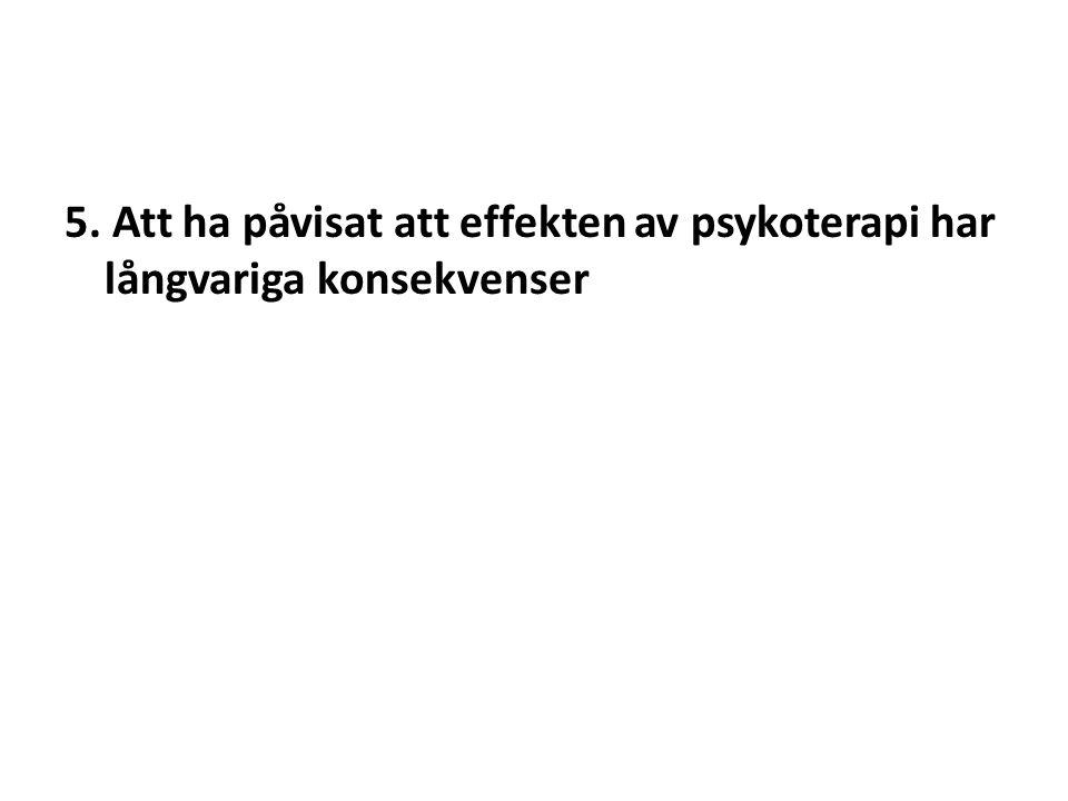 5. Att ha påvisat att effekten av psykoterapi har långvariga konsekvenser
